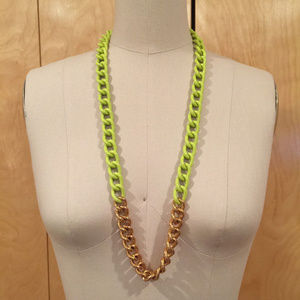 Kate Spade Neon green gold Curb Chain Necklace